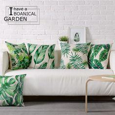 도매 녹색 잎 베개 커버 쿠션 커버 열대 식물 홈 장식 던져 베개 장식 베개 Pillowsham