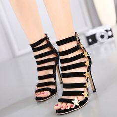 Shoespie Golden Stars Black Strappy Sandals