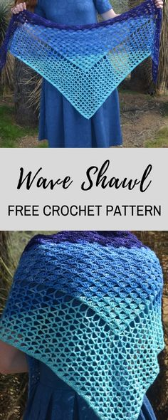 FREE crochet pattern for the Wave Shawl, a beautiful design with cascading shells and v-stitches! This pattern is perfect for beginners, and it also is easily adjustable, so you can make it as small or big as you want! #crochet #freecrochetpatterns #freecrochetpattern #crochetshawl #crochetshawlpattern #cakeyarn #knitpicks #desertblossomcrafts #crocheting