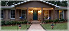 ranch style homes with front porches brick - Google Search