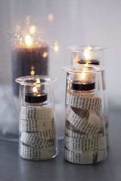 Great use of candles and home decor from PartyLite, print clippings in the symmetry trio makes for a nice shabby chic look