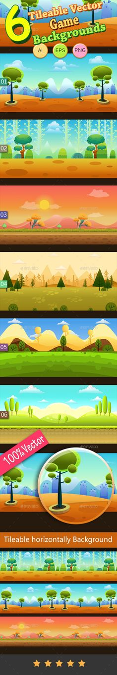 6 Tileable Vector Game Backgrounds - Backgrounds Game Assets