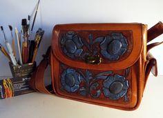 HandPainted  HandTooled Leather Crossbody/Hip Bag/Shoulder Bag/ Folk Art/OOAK…
