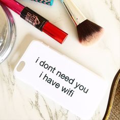 "Hard plastic white iPhone case with ""i don't need you i have wifi"" black bold text! Unique style only sold on Izzy California!"
