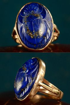 1920s Lapis Lazuli Scarab Ring, 14K Gold, $895