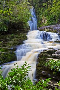 The McLean Falls waterfall in the Catlins on the South Island of New Zealand, the falls are 22m high and a must see when there.    McLean Falls, Catlins Coastal Heritage Trail, Southern Scenic Route, Catlins, Southland, South Island, New Zealand.