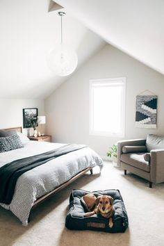 Attic Remodel Tour remodel attic minimalist cozy house design interiordesign sponsored by wayfair Attic Bedroom Ideas Angled Ceilings, Attic Bedroom Small, Basement Bedrooms, Attic Rooms, Attic Spaces, Attic Bathroom, Basement Ideas, Angled Bedroom, Teenage Attic Bedroom
