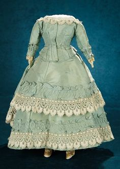 Forever Young - Marquis Antique Doll Auction: 344 Aqua Silk Gown for Lady Doll on Original Body
