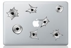 Bulletholes for your laptop. Without the damage. Be like Laptop Shooting Dad. Mac Stickers, Mac Decals, Macbook Stickers, Cool Tech, Apple Products, Big Bang Theory, Painting Inspiration, Bullet, Candle Holders