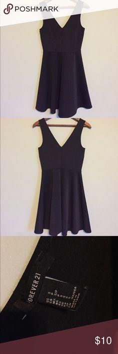 Black Skater Dress Sexy black skater dress. Scuba-like material. Can be dressed up or down! Forever 21 Dresses