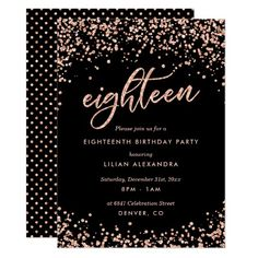 debut ideas Classy Birthday Party Invitations: Sparkly rose gold confetti birthday party invitation design featuring bright rose gold glitter look confetti polka dots. Décoration Rose Gold, Rose Gold Theme, 18th Birthday Invites, Birthday Party Invitations, 18th Birthday Decor, 18th Birthday Dress, Diy Birthday, Classy Birthday Party, Birthday Banners