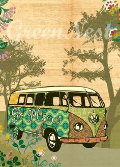 Go Places- Vintage Car VW Bus Collage Poster Print. $14.00, via Etsy.