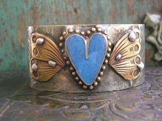 Winged heart soldered cuff bracelet  Love has Wings by 3DivasStudio on Etsy