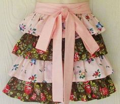 Cottage Chic Floral Half Apron Ruffled Half Apron by KitschNStyle
