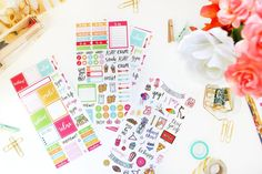 You asked and we listened! We are SO excited to announce our first ever Planner Sticker Sheets! One set includes 5 sheets, a total of 306 individual stickers.