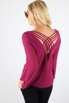 Magenta Cross Back Blouse $32.99 #magenta #crisscross #detailedback #classic #blouse #sophieandtrey