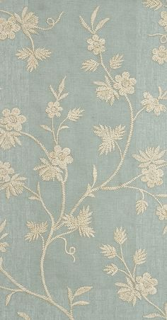 Hermione Embroidered Curtain Fabric Sea Blue Linen Curtain fabric with embroidered cream/gold floral design.