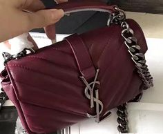c6516fecec741 2018 Cheap Saint Laurent Small Monogram Matelassé College Bag Dark red