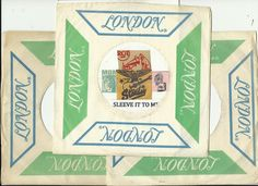 LONDON GREEN  BLUE VINTAGE ORIGINAL COMPANY FACTORY 45 RPM RECORD SLEEVE SLEEVES