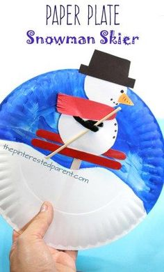 Interactive arts and crafts project for the kids for … Paper plate snowman skier. Interactive arts and crafts project for the kids for the winter. Winter Art Projects, Winter Crafts For Kids, Arts And Crafts Projects, Projects For Kids, Project Ideas, Toddler Crafts, Preschool Crafts, Kids Crafts, Paper Plate Crafts