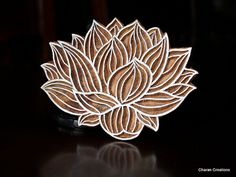 Hand Carved Indian Wood Textile Stamp Block- Water Lily