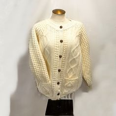 Mairtin Stanoun Wool Unisex Cardigan Sweater Spiddal Co Galway Ireland Aran Knitwear by StarfishCollectibles on Etsy Wool Cardigan, Wool Sweaters, Galway Ireland, Sweater Making, Vintage Outfits, Vintage Clothing, Hand Knitting, Classic Style, Going Out