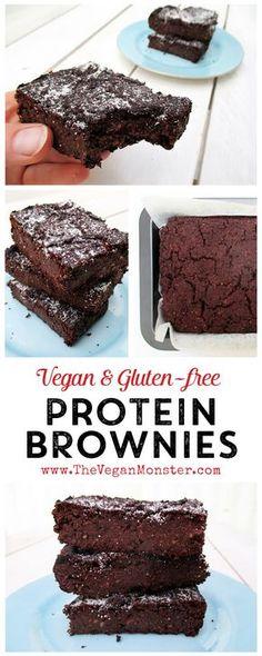 Protein Brownies (vegan, glutenfrei) The Vegan Monster - vegan & glutenfrei . - Protein Brownies (vegan, glutenfrei) The Vegan Monster – Rezepte ohne Veganer und Gluten - High Protein Vegetarian Recipes, Vegan Nutrition, Vegan Protein, Snack Recipes, Dessert Recipes, Easy Recipes, Lentils Protein, Gluten Protein, Vegetarian Dinners