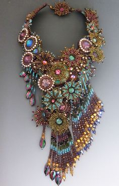 Sherri Serafini and Marcia DeCoster - I do have Bead Dreams and one of them was fulfilled when Sherry Serafini and I decided to do a collaboration to enter into this years Bead D. What happens when Sherri Serafini and Marcia Decoster work together. Seed Bead Jewelry, Statement Jewelry, Jewelry Art, Beaded Jewelry, Handmade Jewelry, Jewelry Design, Fashion Jewelry, Beaded Necklaces, Bead Embroidery Jewelry