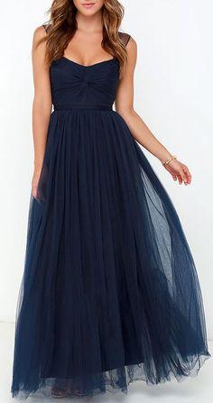 Garden Tulle Navy Blue Maxi Dress: