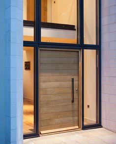 Modern wood front door exterior doors com wooden glass mid century fro Timber Front Door, Modern Front Door, Front Door Entrance, Front Door Design, Glass Front Door, Entry Doors, Glass Doors, Front Entry, Modern Entry