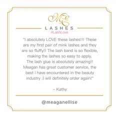 We love reading your reveiws!! Thankyou Kathy @_runawaybeauty !! What a sweetheart !!!  #LashLove #MeaganEllise #MeaganElliseLashes