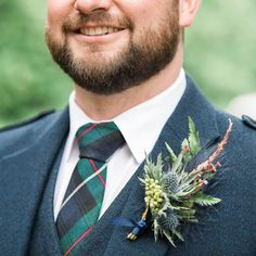 Scottish bespoke buttonhole with feather, thistle and rose gold touches Scottish Flowers, Second Weddings, Touch Of Gold, Flower Farm, Groom And Groomsmen, Floral Tie, Love Story, Bespoke, Florals