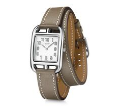 Cape Cod Hermes steel watch, 23 x silvered dial, quartz movement, long double tour smooth taupe calfskin leather strap Wrap Watches, Cool Watches, Women's Watches, Jewelry Watches, Hermes Jewelry, Leather Jewelry, Jewellery, Cape Cod, Hermes Watch