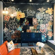 It makes me so happy every time I stop at Ferne Boutique and see the floral wall. Someone give me more floral walls to paint – pretty… Chalkboard Wall Bedroom, Blackboard Wall, Chalk Wall, Chalkboard Art, Chalk Board Wall Ideas, Art Mural, Wall Murals, Painting Murals On Walls, Wall Design