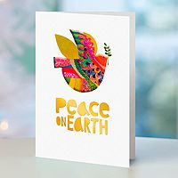 Holiday greeting cards, 'Peace on Earth' (set of 12) - UNICEF Multicolor Dove Holiday Greeting Cards (Set of 12)