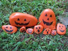 fall festival ideas | Fall Festival Ideas / Make a pumpkin rock _ you could do big ones to line a walkway and small stones for a bowl inside