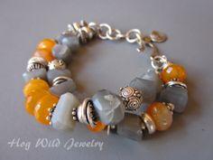 Orange Chalcedony and Gray Moonstone