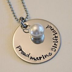 For anyone that has a special someone in the military. This lady is so nice and can do just about anything you ask for! I recommend her! Proud Marine Girlfriend Necklace  by SusansJewelryDesigns on Etsy, $16.00