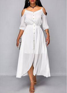 White Strappy Cold Shoulder Button Up High Waist Dress on sale only US$36.32 now, buy cheap White Strappy Cold Shoulder Button Up High Waist Dress at liligal.com