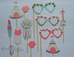 Coachella Kidchella Tribal Party Themed Photo Booth Props - Pink, Turquoise, Gold SET of 11