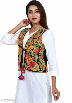 Ethnic Jackets & Shrugs Gorgeous Cotton Kutchi Work Ethnic Jacket  *Fabric* Cotton  *Sleeves* Sleeves Are Not Included  *Size* S - 36 in, M - 38 in, L - 40 in  *Length* Up To 22 in  *Type* Stitched  *Description* It Has 1 Piece Of Women's Ethnic Jacket  *Work* Kutchi Work  *Sizes Available* S, M, L *   Catalog Rating: ★4.2 (218)  Catalog Name: Hrishita Gorgeous Cotton Kutchi Work Ethnic Jackets Vol 9 CatalogID_170310 C74-SC1008 Code: 993-1328071-