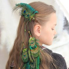 """Long Peacock Feather Hair Extension """"Wind of Freedom"""" Green Feather Hair Clip Tribal Feather Hair Extension Boho Peacock Feather Hair Clip by Nastasy.eu"""