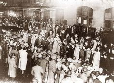 Crowd awaiting survivors from the Titanic: 1912