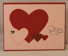 Valentine or love card with hearts using Stampin' Up! materials