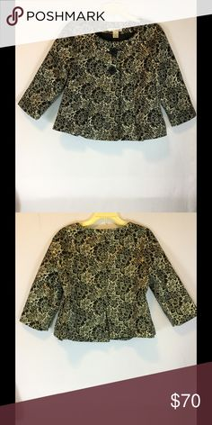 Brocade Jacket Fully lined front and side pleated black and gold jacket WD NY Jackets & Coats