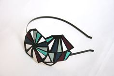 Geometric leather headband color block triangles by GeometricLOVE, $30.00