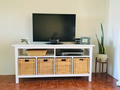 Ikea Hemnes Console Table for TV stand. To make room for Blue Ray player and Cable box, I didn't include the two small pieces on the second shelf. Turned out perfect for my TV setup. Loft Spaces, Living Spaces, Ikea Hemnes Tv Stand, Ikea Tv, Beach House Decor, Home Decor, Living Room Interior, Console Table, Sweet Home