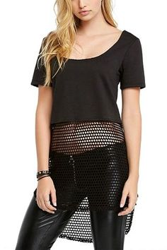 Fishnet Hi-Lo Top - Life Clothing Co Fishnet Hi-Lo Top - T Shirt