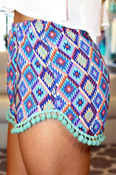 Aztec Print High Rise Shorts with Pom Pom Trim | uoionline.com: Women's Clothing Boutique