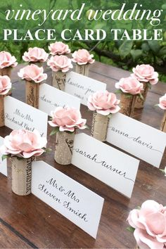 Explore unique Wedding Place Card Holder ideas by Kara's Vineyard Wedding. Proudly featured in weddings & special events worldwide! Wedding Name Cards, Card Table Wedding, Wedding Placecard Ideas, Wedding Favors, Wine Cork Wedding, Vintage Wedding Cards, Wedding Souvenir, Name Card Holder, Place Card Holders Diy